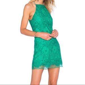 NBD Stand By lace mini dress summer green